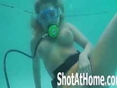 Blonde Laci Orgasms Underwater Scuba Diving