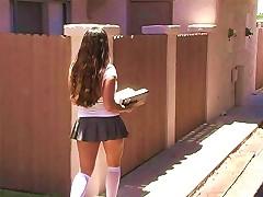 Mandy Has A Nice Schoolgirl Skirt And She Masturbates