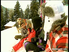 Karma And Sylvia Ride Cocks To Warm Themselves In The Snowy Mountains