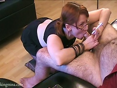 Pigtailed Redhead Slut Gives A Blowjob To A Horny Dude