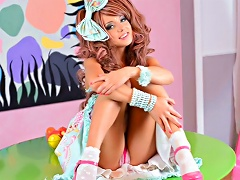 Cute Teenager Dressed As A Doll Shows Her Nice