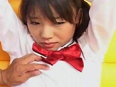 Horny Japanese Teen In School Uniform Sucks Cock