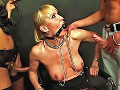 Blonde Shemale Wearing Stockings Has Bdsm In Threesome