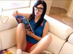 Nerdy, Cute Teen Reads A Comic Book While Massaging Her Clit