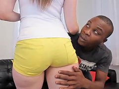 Pale Slut Gets Her Shaved Cunt Filled By A Long African Cock